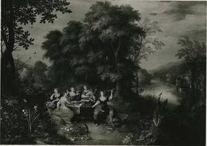 Boslandschap met de allegorieën van de vijf zintuigen