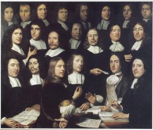 Groepsportret van muntmeesters en waardijns van de Munt van Holland te Dordrecht in 1674 (met op de voorgrond Samuel van Hoogstraten zelf)