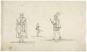 Drie figuren in historische kostuums