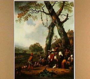 Jagers en boeren rustend onder twee bomen; op de achtergrond een heuvelig landschap