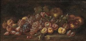Vruchtenstilleven op een stenen tafel