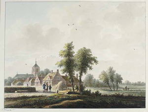 Landschap met gezicht op het dorp Wadenoijen