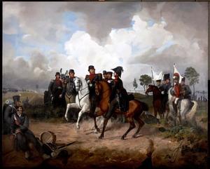 Bernhard von Sachsen-Weimar (1792-1862) en Pieter Hendrik van Limburg Stirum (1792-1875) bij Leuven tijdens de Tiendaagse Veldtocht, 12 augustus 1831