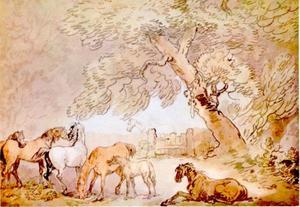 Paarden onder een boom