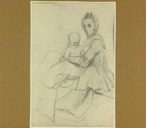 Moeder met kind op haar schoot