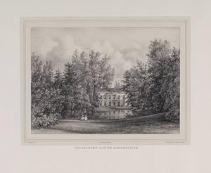 Parklandschap met doorkijk naar de achterzijde van de hofstede Welgelegen