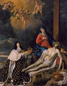 Louis XIII knielend voor de Heilige Maagd met het dode lichaam van Christus