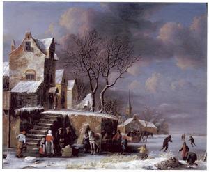 Winterlandschap met figuren op het ijs bij een stadje