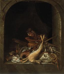 Jachtgerei en jachtbuit van een haas, fazant, patrijs en hoofd van een zwijn in een nis