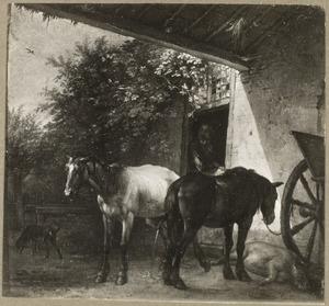 Twee paarden en een varken voor een boerderij