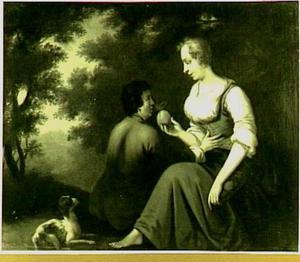 Een herderin geeft een vrucht aan een herder