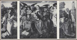 De H. Catharina (binnenzijde links), De H. Familie met musicerende engelen (midden), De H. Barbara (binnenzijde rechts)