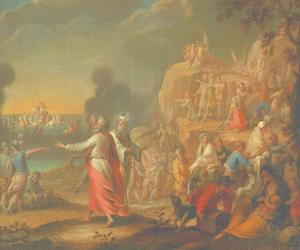 De doortocht door de Rode Zee: Mozes sluit de golven boven het leger van farao  (Exodus 14:21-26)