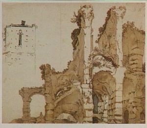 Het Colosseum in Rome en studie van een toren