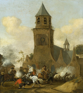 Ruitergevecht voor een kerk