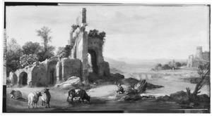 Arcadisch landschap met herder bij een waterval