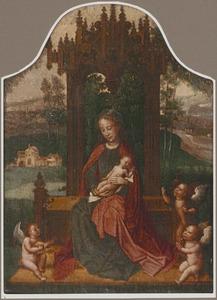 Tronende Maria met kind en musicerende engelen