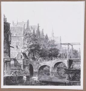 Stadsgezicht met ophaalbrug over een gracht