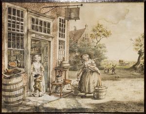Figuren bij een kruidenierswinkel