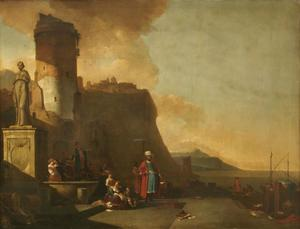 Zuidelijke haven met toren en een klassiek beeld