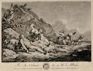 Landschap met een herderin die een herder kietelt met een veer