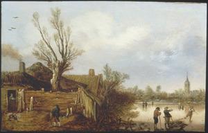 Winterlandschap met enkele huizen bij een rivier