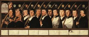 Portretten van twaalf leden van de Haarlemse Jeruzalembroederschap, waaronder het zelfportret van Jan van Scorel (derde portret van rechts)
