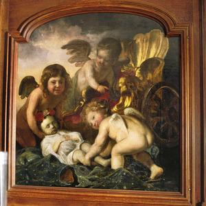 Doodsportret van een kind vergezeld van drie putti