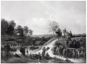 Een tentenkamp met figuren in een heuvellandschap