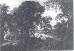 Soldaten bij een overval op  een boerderij tussen de bomen