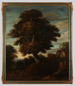 Landschap met grote eikenboom