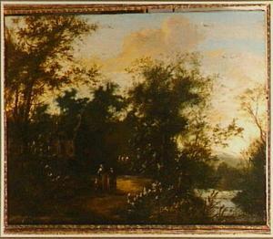 Landschap met enkele figuren op een weg langs een huis