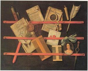 Trompe l'oeil van een brievenbord met een portretminiatuur van een vrouw