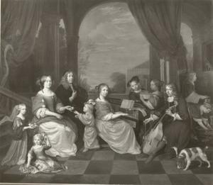 Familieportret van Johannes Reyniers (1625-1681) en Elisabeth Roodhuysen (1633-1680) met hun zeven kinderen