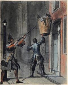 Scène uit de comedie 'Filibert of Oud-Mal' door J. van Paffenorode: Filibert in de mand