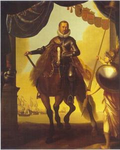 Ruiterportret van Willem I (1533-1584), prins van Oranje, stadhouder van Holland, Zeeland en Utrecht; op de achtergrond de Zeeslag op het Haarlemmermeer