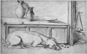 Slapende hond voor een kist