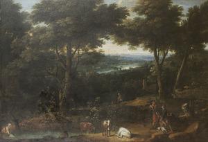 Bebost heuvellandschap met herders en vee