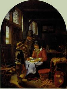 Interieur in een boerenwoning met een man, vrouw en jongetje met bierpul