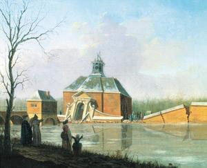 De ingestorte Muiderpoort te Amsterdam tijdens de watersnood van 30 januari 1769