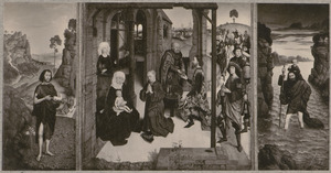 Johannes de Doper (binnenzijde links), De aanbidding van de wijzen (midden), De H. Christoforus (binnenzijde rechts); De H. Catharina (buitenzijde links), De H. Barbara (buittnzijde rechts)