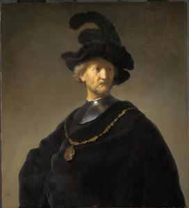 Halffiguur van een man met halsberg en gevederde baret