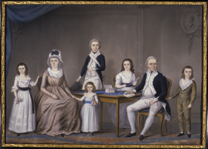 Portret van Maria Anna Cock (1752-1823) en haar kinderen Van der Hoop en haar tweede echtgenoot David Hendrik Bruce (1755-1828)