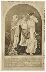 Muurschildering voor het paviljoen van de tentoonstelling 'De Vrouw 1813-1913'