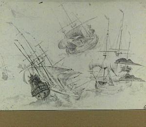 Drie studies van zeilschepen