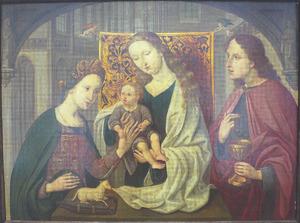 Maria met kind en de Heiligen Agnes en Johannes de Evangelist: het mystieke huwelijk van de Heilige Agnes