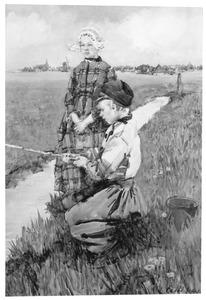 Twee vissende kinderen in een Nederlands landschap