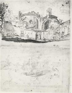 Zicht op Rome: een trattoria in de thermen van Diocletianus en de vroegere abdij van Santa Sabina op de Aventijn