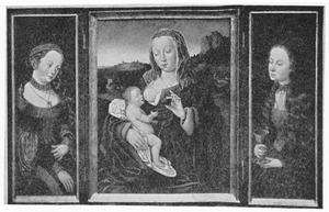 De H. Catharina (links); Maria met kind (midden); Heilige vrouw met kelk (rechts)