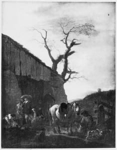 Rustende jagers bij een herberg (de staande jager is een vrouw in mannenkleren)